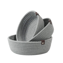 Load image into Gallery viewer, 3 Set Cute Round Small Basket Gray