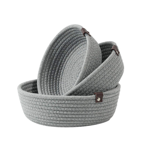 3 Set Cute Round Small Basket Gray