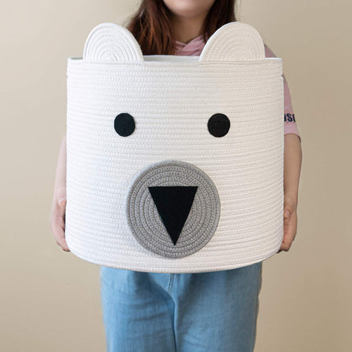 14'' x 16'' Bear Basket Toy Storage Bin for Kids