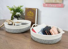 Load image into Gallery viewer, 2 Pcs Small Cotton Rope Woven Basket Black Stripes Gray