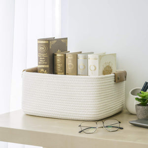 Rectangle Cotton Rope Woven Basket with Handles