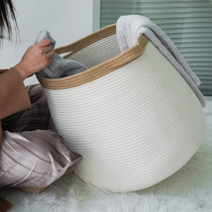 "White Wicker Storage Rope Basket with Handles 17.71"" x 17.71"""