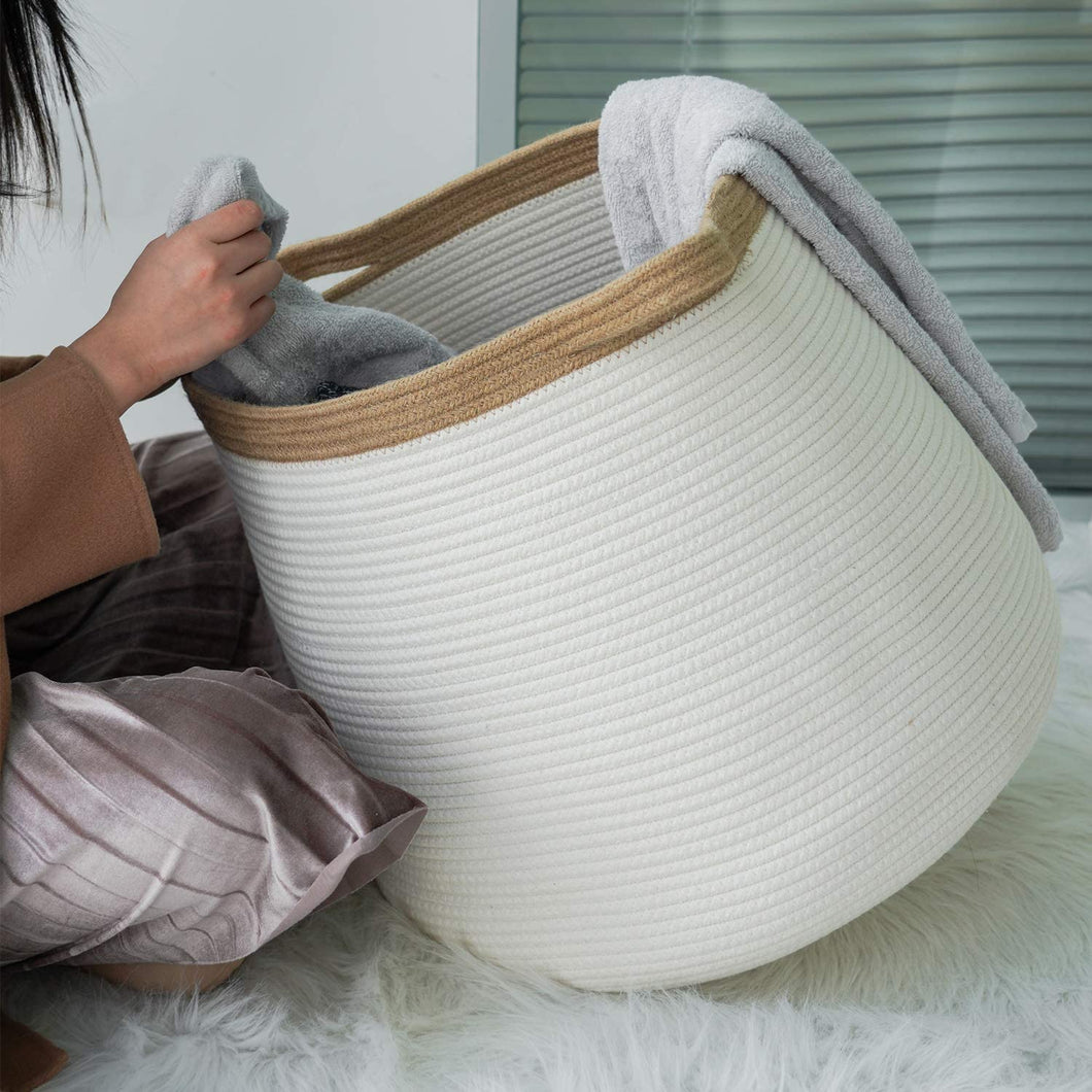 White Wicker Storage Rope Basket with Handles 17.71