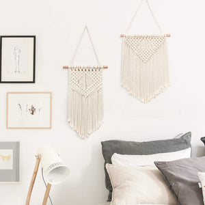 2 Pcs Macrame Wall Hanging Small Woven Tapestry Beige For Bedroom