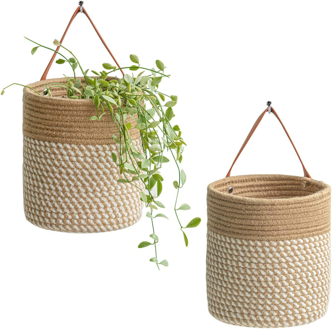 2pack Small Cotton Rope Hanging Basket 7.87