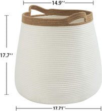 "Load image into Gallery viewer, White Wicker Storage Rope Basket with Handles 17.71"" x 17.71"""