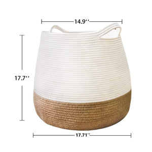 Large Jute Storage Baskets with Handles Size