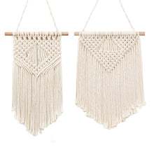 Load image into Gallery viewer, 2 Pcs Macrame Wall Hanging Small Woven Tapestry Beige
