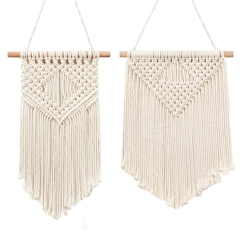 2 Pcs Macrame Wall Hanging Small Woven Tapestry Beige