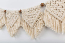 Load image into Gallery viewer, 7 Flags Macrame Wall Hanging Fringe Garland Banner Beige Details