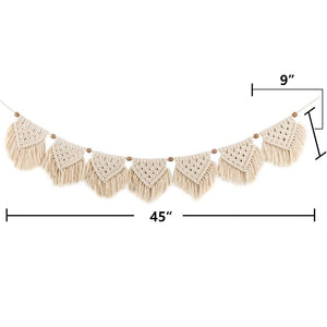 7 Flags Macrame Wall Hanging Fringe Garland Banner Beige Size