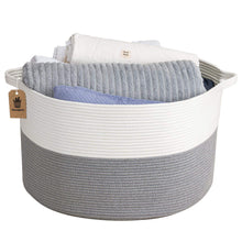 "Load image into Gallery viewer, Jumbo Woven Basket Large Basket Baby Laundry Basket Hamper 23.6""D x 14.2""H"