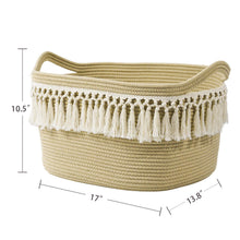 Load image into Gallery viewer, Woven Basket Tassel Cotton Rope Basket