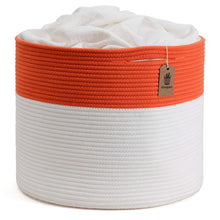 "Load image into Gallery viewer, Large Cotton Rope Basket Cute Orange Design 15.8""x15.8""x13.8"""