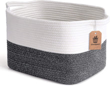 Load image into Gallery viewer, White and Grey Woven Storage Basket for Shelves