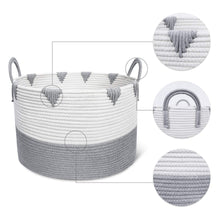 Load image into Gallery viewer, Large Cotton Rope Woven Basket with Handles