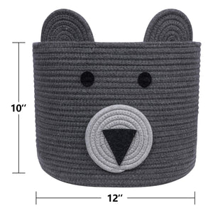 10'' x 12'' Bear Basket Toy Storage Bin for Kids
