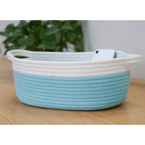 Small Blue Cotton Rope Woven Basket