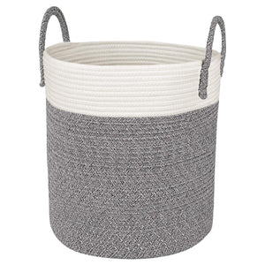 Grey and White Cotton Rope Basket