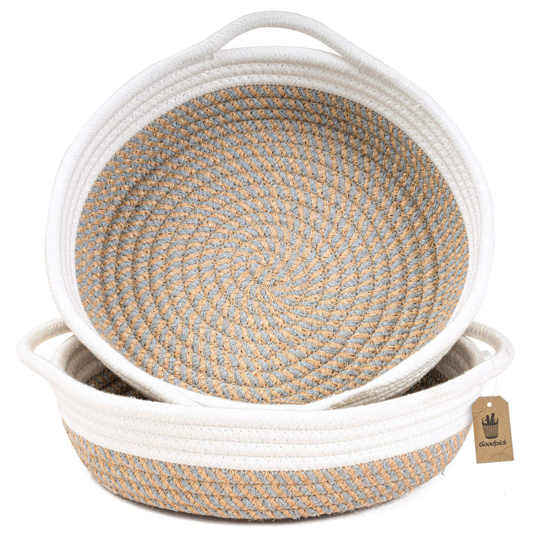 2pack Small Basket Cotton Rope Woven Basket 9.8 x 8.7 x 2.8 inches