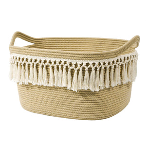 Woven Basket Tassel Cotton Rope Basket