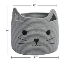 Load image into Gallery viewer, Smile Cat Large Woven Cotton Rope Storage Basket