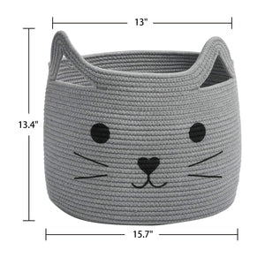 Smile Cat Large Woven Cotton Rope Storage Basket