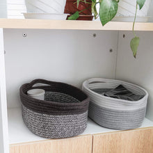 Load image into Gallery viewer, Cute Brown-White Rope Basket with Handles