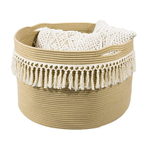 Large Woven Tassel Cotton Rope Basket with Handles