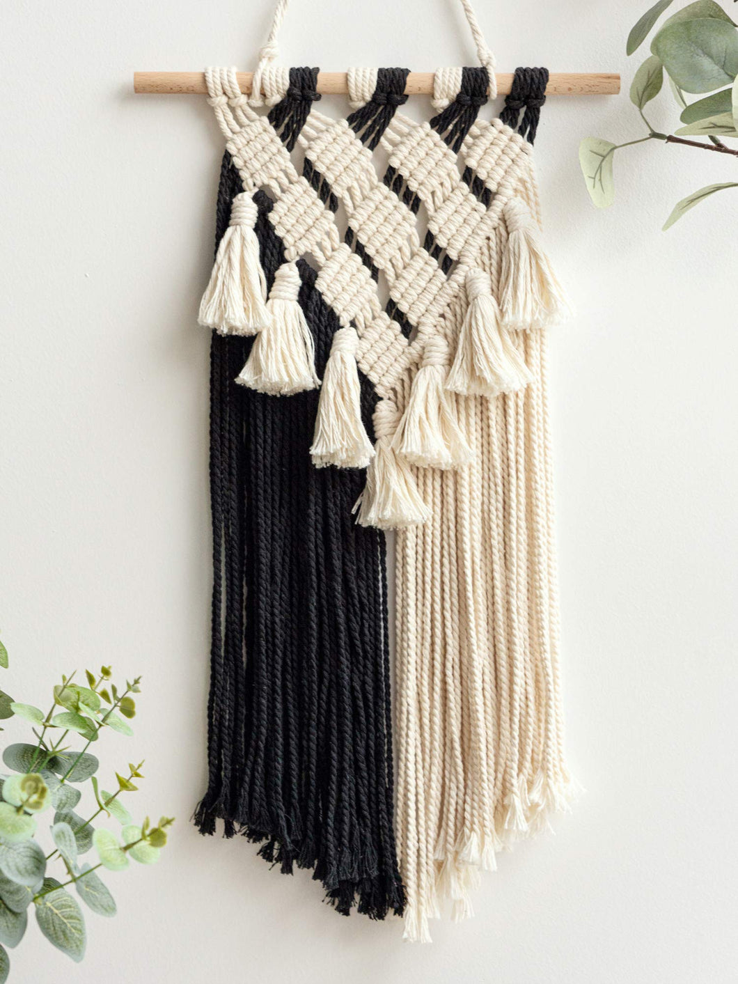 Macrame Black and White Wall Art
