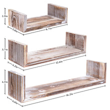 Load image into Gallery viewer, 3 Pcs Floating Wood Shelves Farmhouse Storage Shelves Size