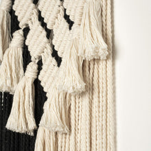 Load image into Gallery viewer, Macrame Black and White Wall Art