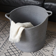 Load image into Gallery viewer, Grey Laundry Basket Cotton Rope Basket Hamper for Blanket 16.0 x 15.0 x 12.6 in
