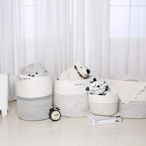 Baby Laundry Basket XXXLarge Cotton Rope Basket Storage Bins White 21.7 x 13.8 in