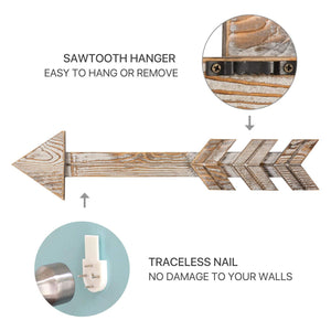 Arrow Wood Signs for Home Decorative Farmhouse Wall Hanging Decor Set of 2 how to install the arrows