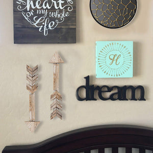 Arrow Wood Signs for Home Decorative Farmhouse Wall Hanging Decor Set of 2 Living Room Decoration