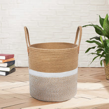 "Load image into Gallery viewer, Jute Natural Laundry Basket Toy Towels Blanket Basket 16"" x 16"" For Living Room"