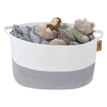 Load image into Gallery viewer, Bedroom Basket 3XL Woven Rope Storage Bin Box for Home Organizer Grey White Timeyard for toy storage basket