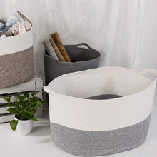 Load image into Gallery viewer, Bedroom Basket 3XL Woven Rope Storage Bin Box for Home Organizer Grey White Timeyard