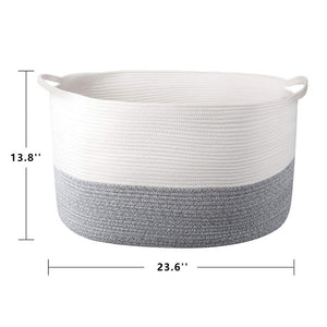 Bedroom Basket 3XL Woven Rope Storage Bin Box for Home Organizer Grey White Timeyard large standard size