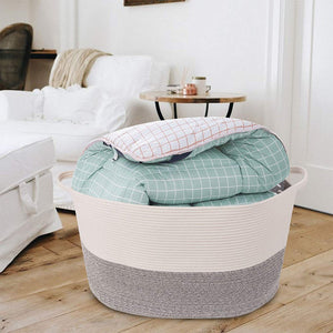 Bedroom Basket 3XL Woven Rope Storage Bin Box for Home Organizer Grey White Timeyard living room storage