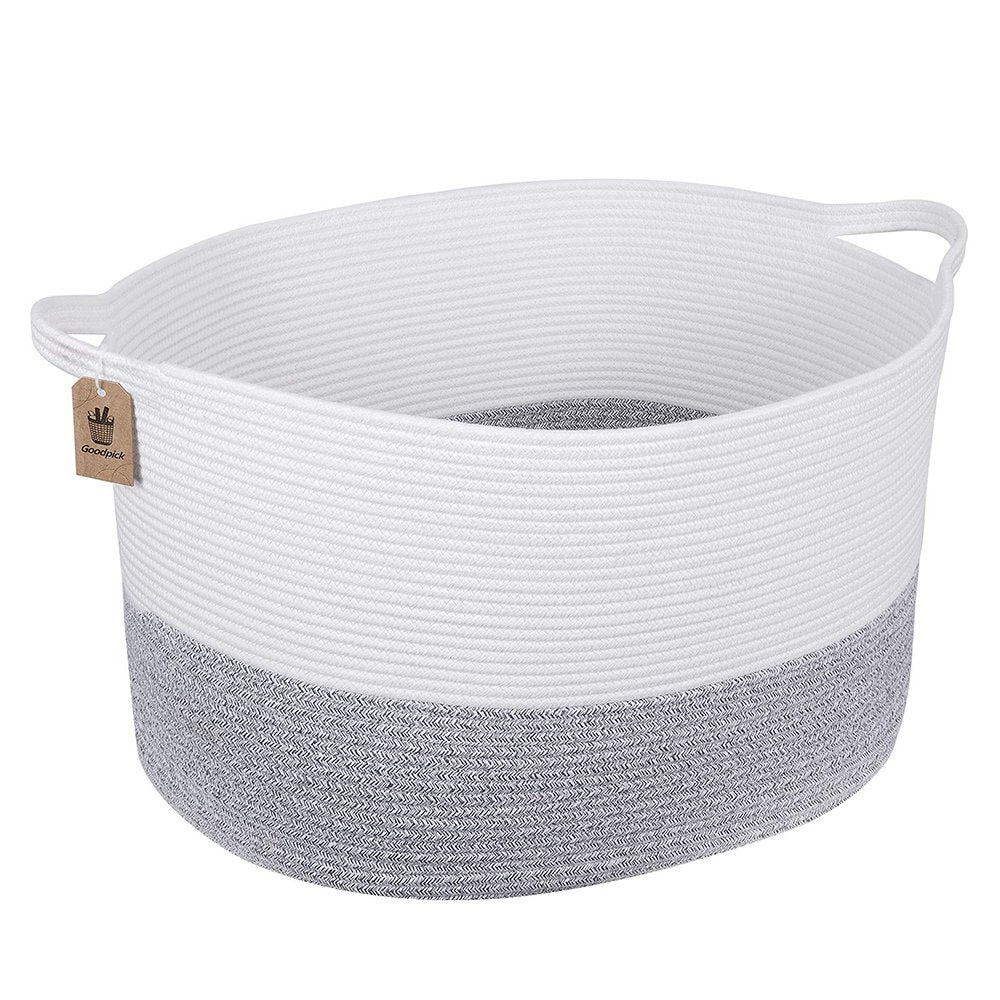 Bedroom Basket 3XL Woven Rope Storage Bin Box for Home Organizer Grey White Timeyard