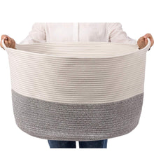 Load image into Gallery viewer, Bedroom Basket 3XL Woven Rope Storage Bin Box for Home Organizer Grey White Timeyard how big it is