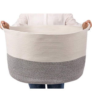 Bedroom Basket 3XL Woven Rope Storage Bin Box for Home Organizer Grey White Timeyard how big it is