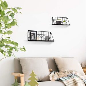 2 Pcs Black Wire Metal Wood Shelves