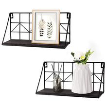 Load image into Gallery viewer, 2 Pcs Black Wire Metal Wood Shelves