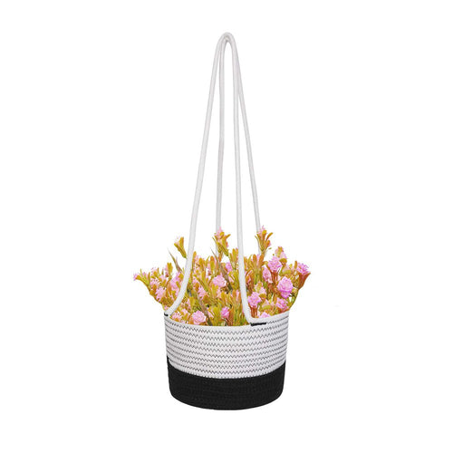 Black and White Plant Basket Woven Cotton Rope Wall Hanging Indoor Planter