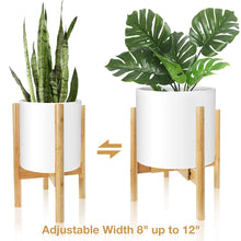 "Load image into Gallery viewer, Corner Plant Stand Bamboo Adjustable Width 8"" up to 12"""