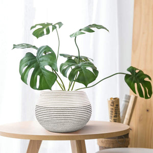 Cotton Rope Round Corner Table Storage Shelf Basket Plant Basket