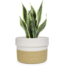 Load image into Gallery viewer, Cotton Rope Plant Basket Yellow and White Basket
